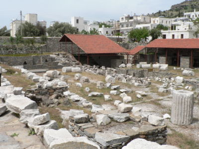 Mausoleum of Halicarnassus. Placed on a hill above the city of Halicarnassus