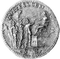 Roman coin commissioned by Aulus Vitellius during his second censorship. The coin depicts his father, Lucius Vitellius.