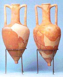 The amphorae from Chios were normally shaped like this, and held all varieties of trade items, from wine, to grain, to oregano-flavored olive oil!
