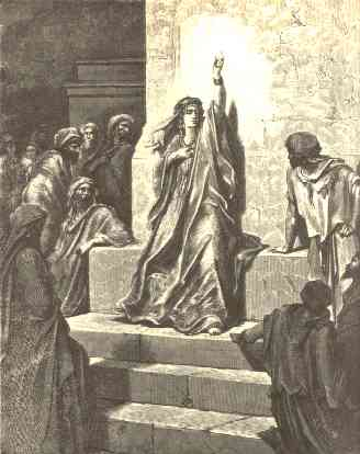 Artist Gustave Dore's interpretation of Deborah, prophetess and Judge of Israel, from the mid-1800s.