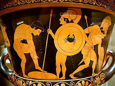 Athenian youths arm themselves on the Euphronios krater.
