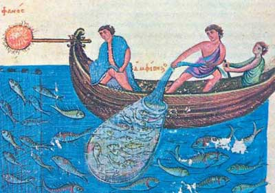 A Late Byzantine image showing fire fishing with a basket and net.