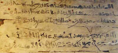 "This hieratic text is a scribe's wooden exercise tablet! It's from around 1514 BC, and is a section from The Instructions of Amenemhat, and it says: ""Be on your guard against all those who are subordinate to you… trust no brother, know no friend, make no intimates."""