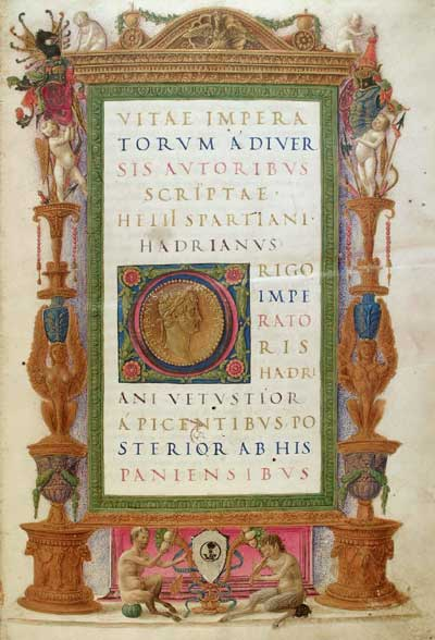 The cover of an edition of the Historia Augusta, a collection of fake biographies of Roman Emperors, written as though it was a factual and historical account of their lives.