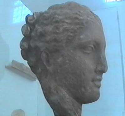 The head of a statue of Hygieia, the Greek goddess of hygiene… and the moon.