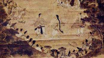 This ancient Korean wall painting shows men practicing Tae Kwon Do as spectators look on… perhaps students or people watching a competition?