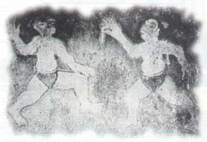 This fragment of a wall painting from the Koguryo Dynasty came from a warrior's tomb, and shows two men in the midst of a 'Subakki'-style fight.