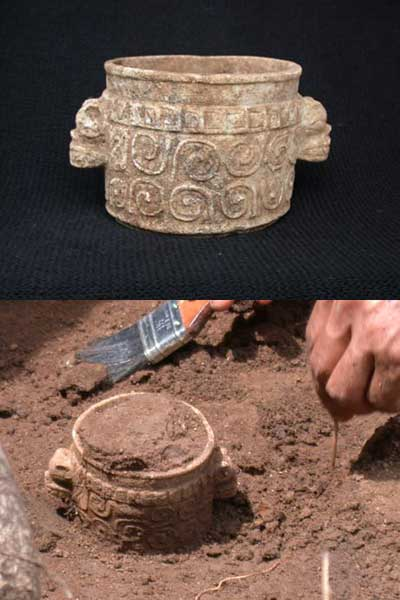 "This rare ""death vase"" was discovered in the grave of an elite Mayan, and is carved with scrolls and tiles that look like snake scales."