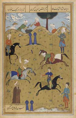Image of a polo game being played in Persia, an illustration from a poem called 'Guy u Chawgan' from 1546.