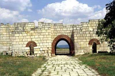 This is a reconstructed view of Pliska's inner wall. The city wall was over 2.5 meters thick in order to protect from Byzantine invasion!