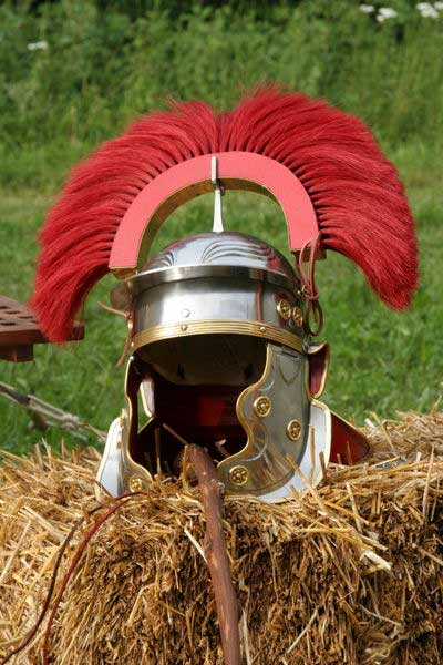 This modern reconstruction of a Roman centurion's helmet from the 1st century is similar to what would have been found in Xanten, with glued-on decoration!