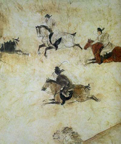Chinese courtiers of the Tang Dynasty, engaged in their own polo game during the 7th century.