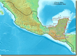A map showing the extent of Mayan influence