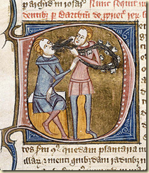 An illustration of a medieval dental treatment