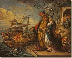 A European painting showing a Chinese emperor and his concubine