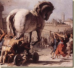 A depiction of the Trojan Horse being wheeled inside the city