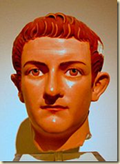 A colored marble bust of Caligula