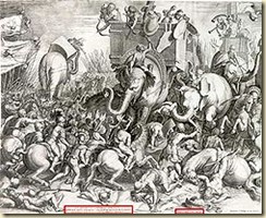 A painting from 1567 depicting the Battle of Zama