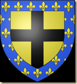 The coat of arms, complete with the fleur-de-lys symbol