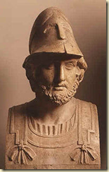 A statue showing the likeness of the Athenian general Themistocles