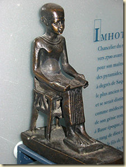 This statue of Imhotep can be found at the Louvre in Paris