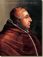 A portrait of Rodrigo Borgia after he became Pope