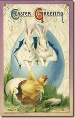 A card showing symbols of Easter: rabbits, eggs and chicks