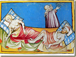 An illustration showing plague victims