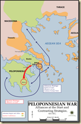 Map showing the course of the Peloponnesian War