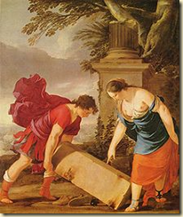 A painting showing the Greek hero Theseus and his mother, Aethra