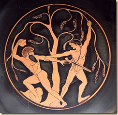 This piece of pottery shows the encounter between Theseus and Sinis