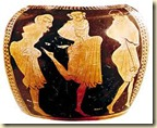 Possible kordax dancers on a Corinthian vase.